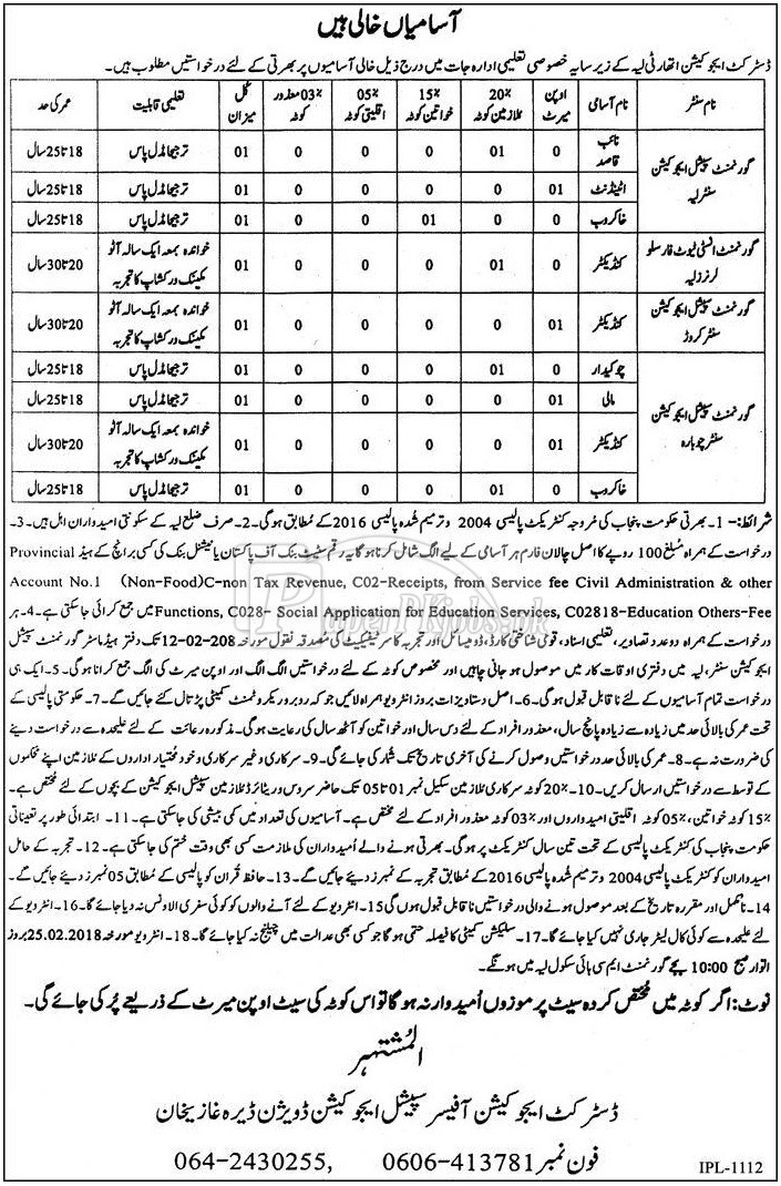 District Education Authority Layyah Jobs 2018