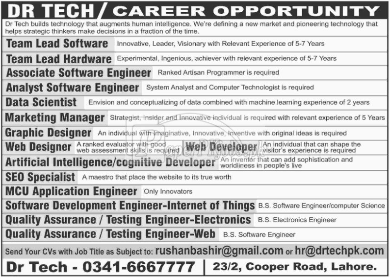 Dr Tech Jobs 2018