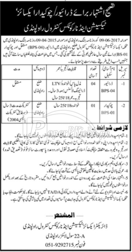 Excise Taxation & Narcotics Control Department Punjab Jobs 2018
