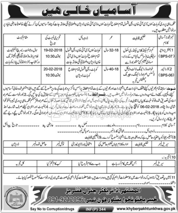 Fisheries Department Peshawar KPK Jobs 2018