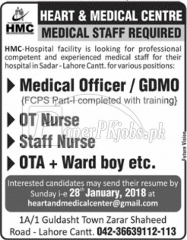 Heart & Medical Centre Lahore Cantt Jobs 2018