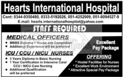 Hearts International Hospital Jobs 2018