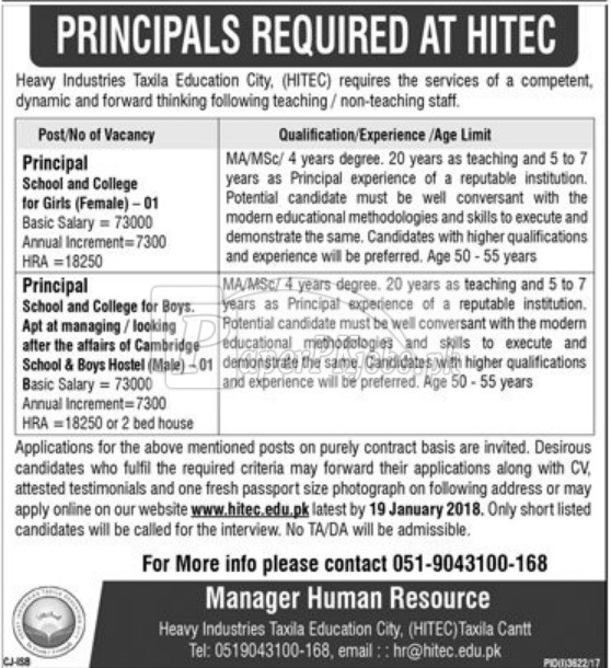 Heavy Industries Taxila Education City HITEC Taxila Cantt Jobs 2018