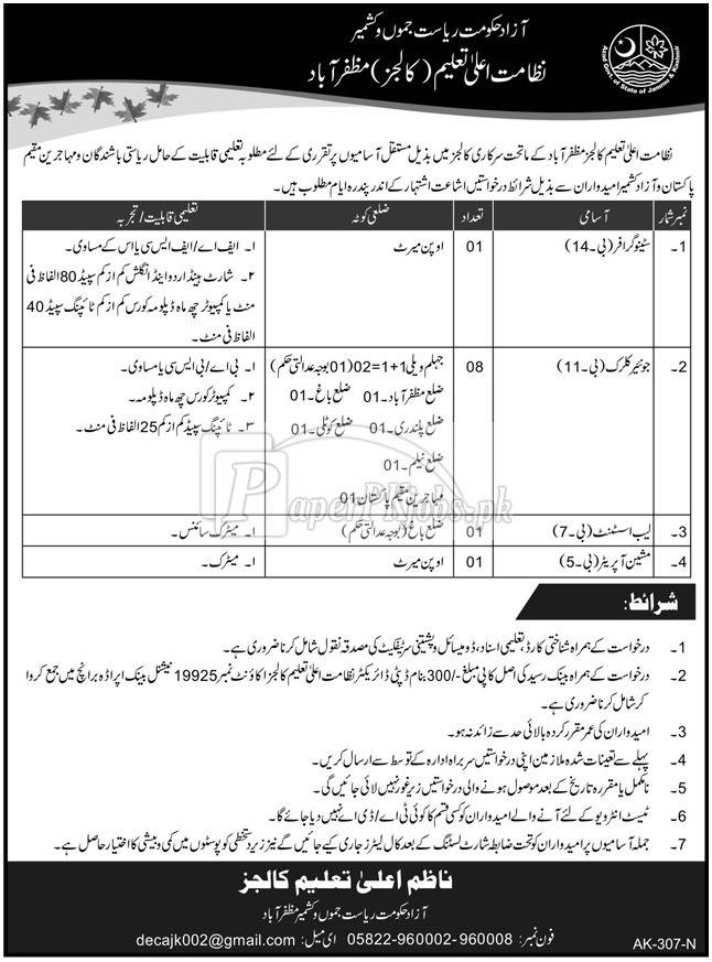 Higher Education Department Colleges Muzaffarabad AJK Jobs 2018