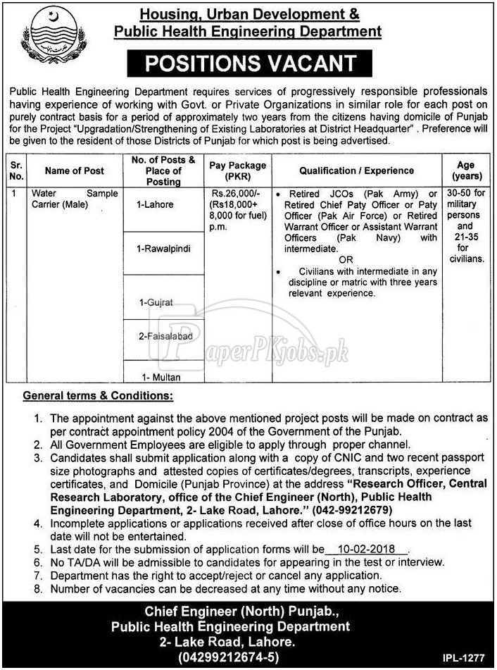 Housing Urban Development & Public Health Engineering Department Punjab Jobs 2018