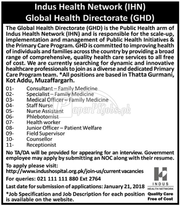 Indus Health Network IHN Jobs 2018