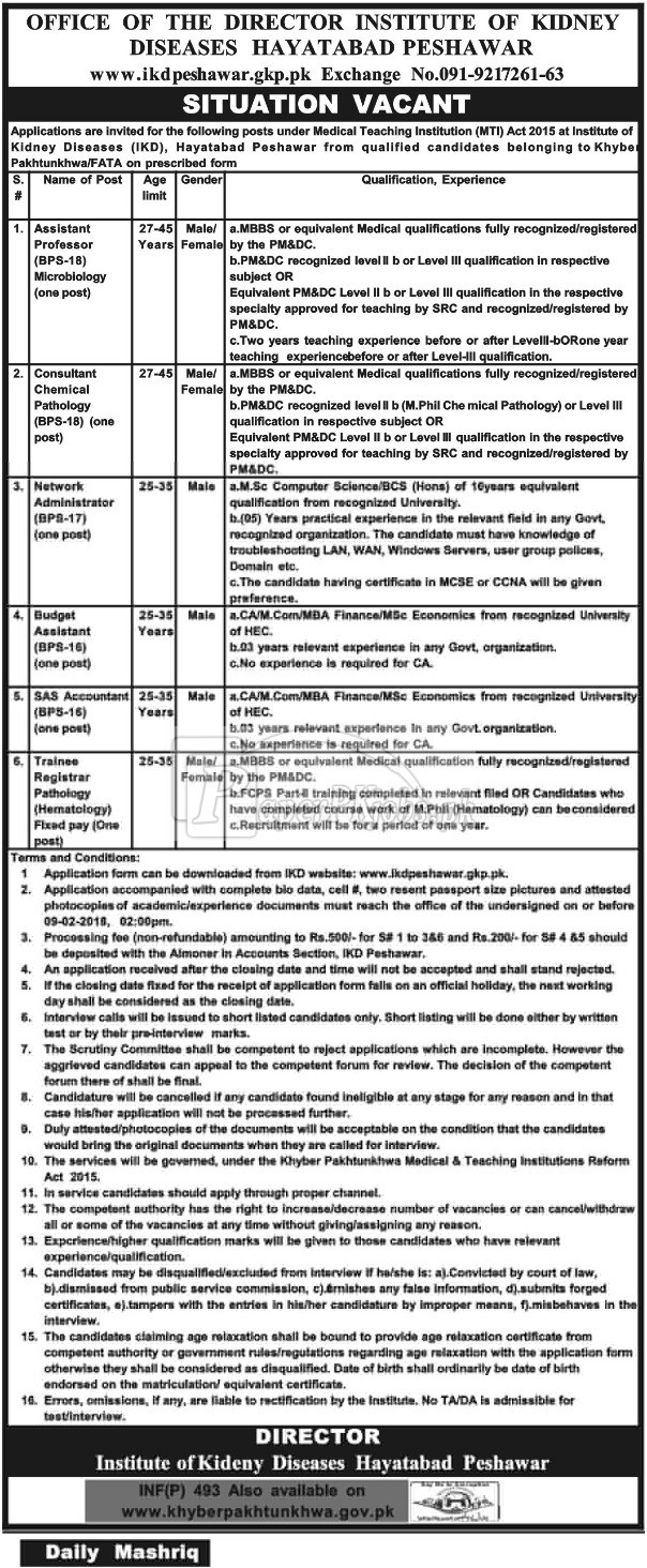 Institute of Kidney Diseases Hayatabad Peshawar Jobs 2018