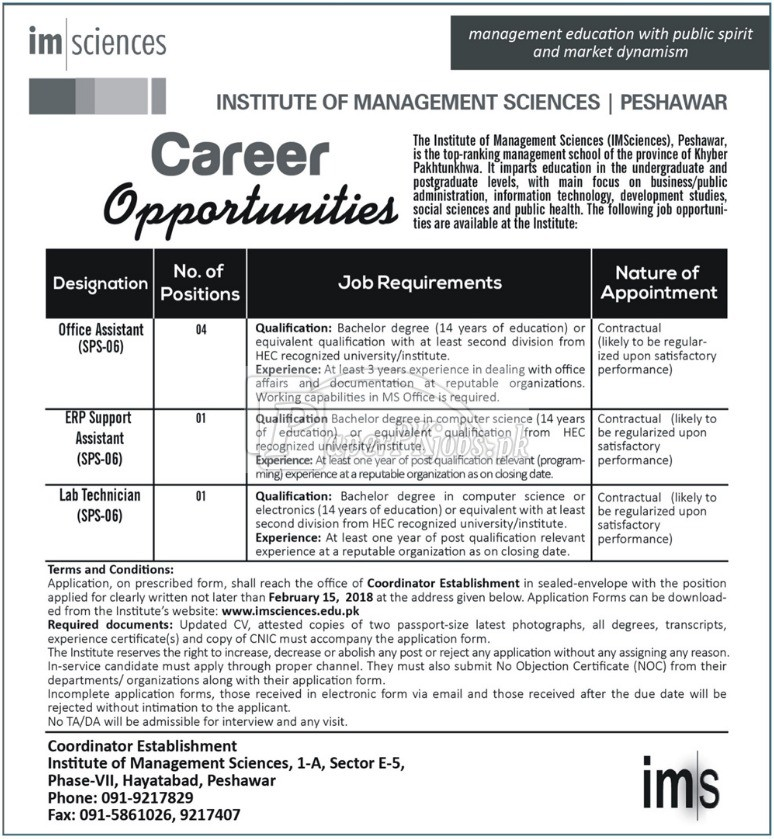 Institute of Management Sciences Peshawar Jobs 2018