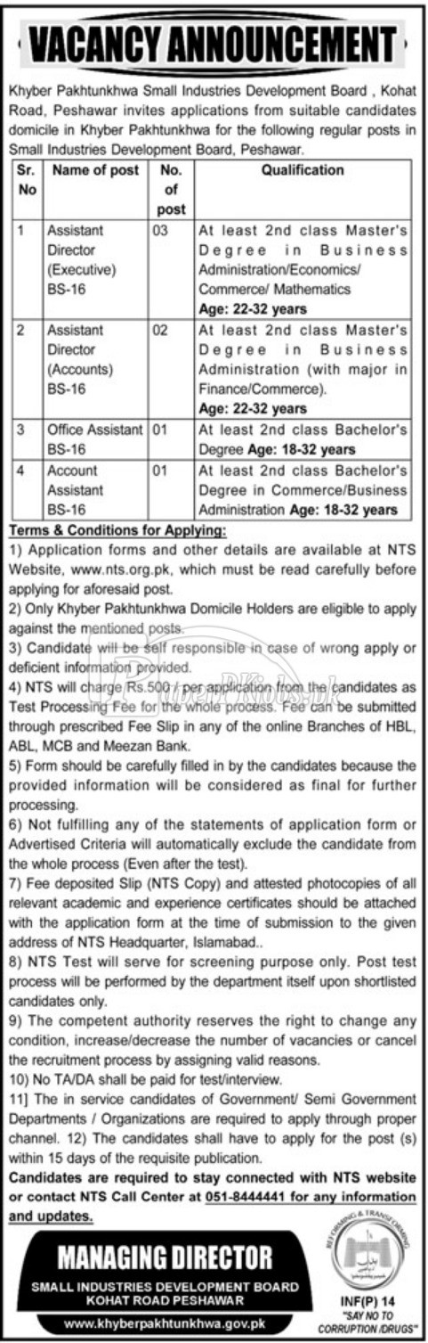 KPK Small Industries Development Board Peshawar NTS Jobs 2018
