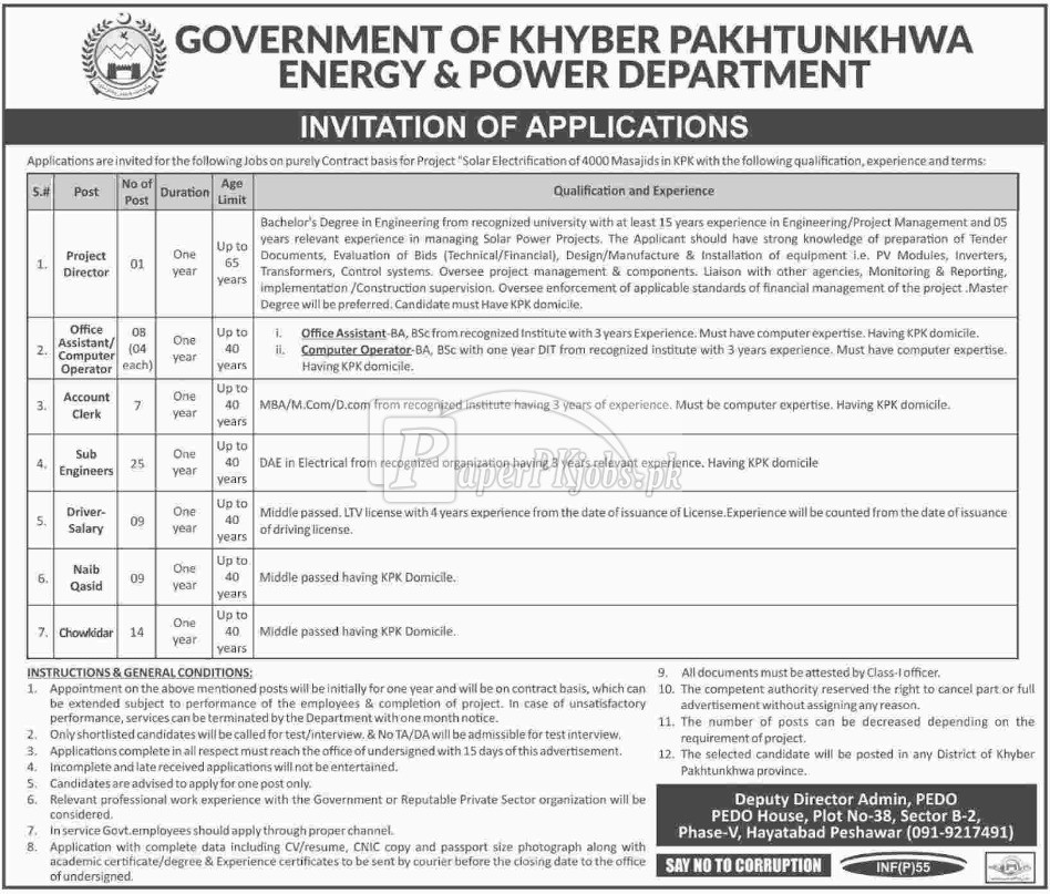 Khyber Pakhtunkhwa Energy & Power Department Peshawar Jobs 2018