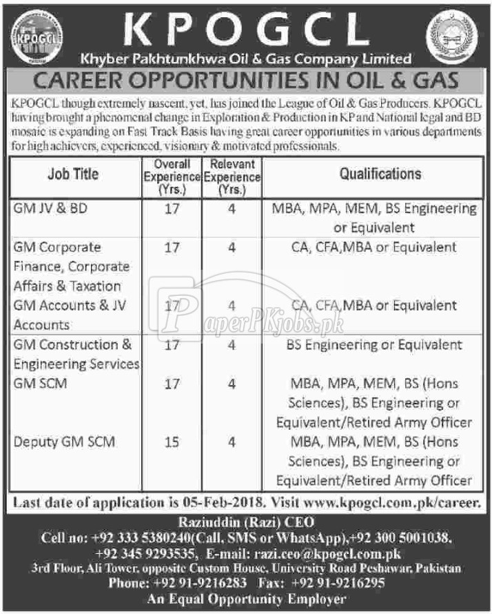 Khyber Pakhtunkhwa Oil & Gas Company Ltd KPOGCL Jobs 2018