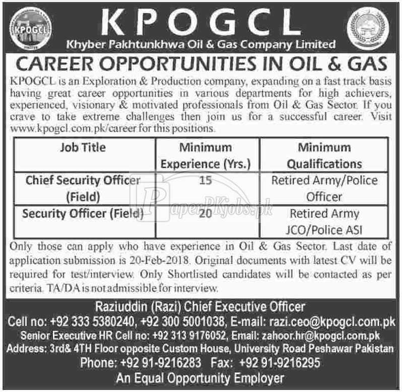 Khyber Pakhtunkhwa Oil & Gas company Ltd. KPOGCL Jobs 2018