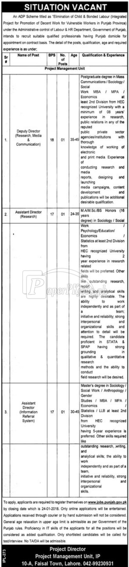 Labour & HR Department Government of Punjab Jobs 2018