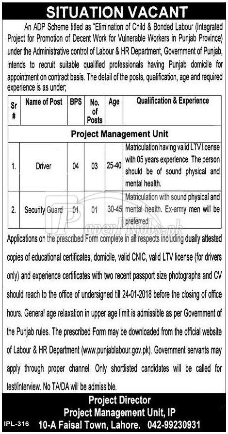 Labour & HR Department Punjab Lahore Jobs 2018