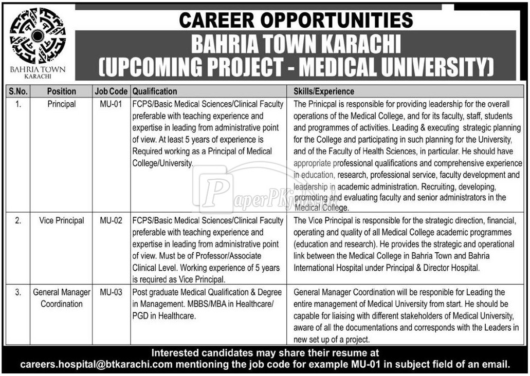 Medical University Bahria Town Karachi Jobs 2018