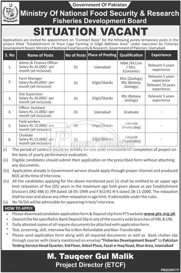 Ministry of National Food Security & Research Islamabad PTS Jobs 2018