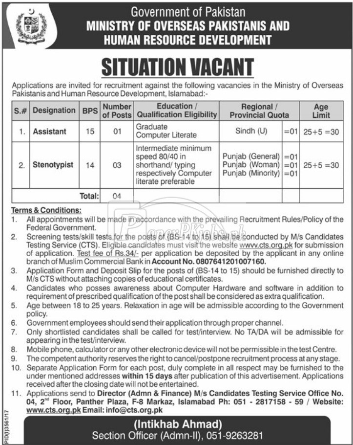 Ministry of Overseas Pakistanis & Human Resource Development Islamabad CTS Jobs 2018