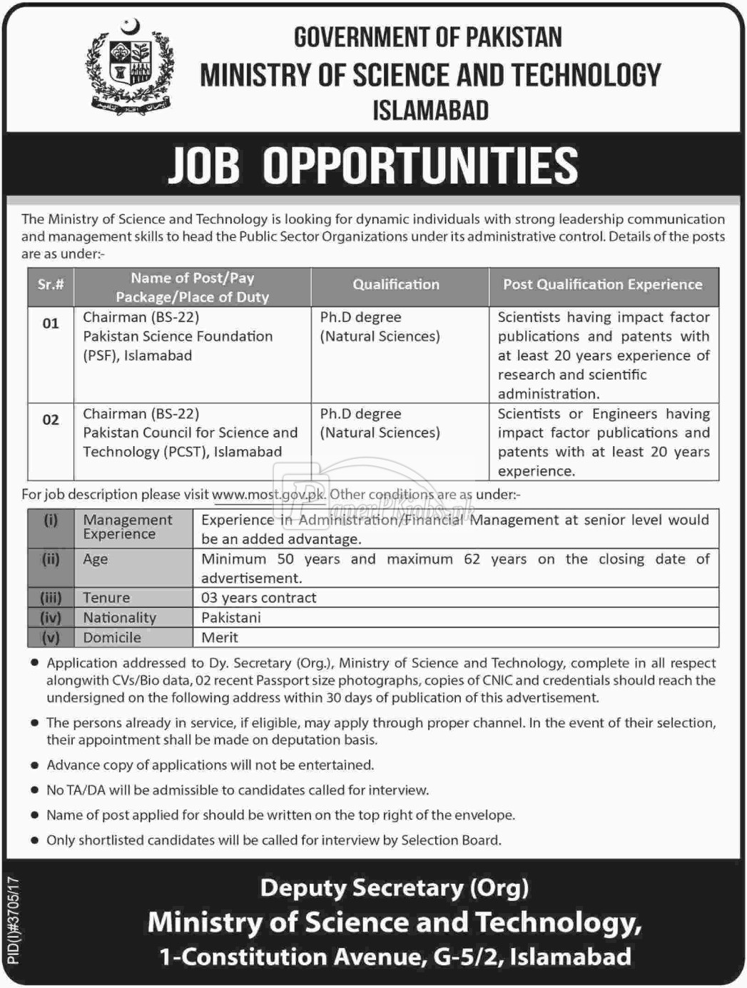 Ministry of Science & Technology Islamabad Jobs 2018