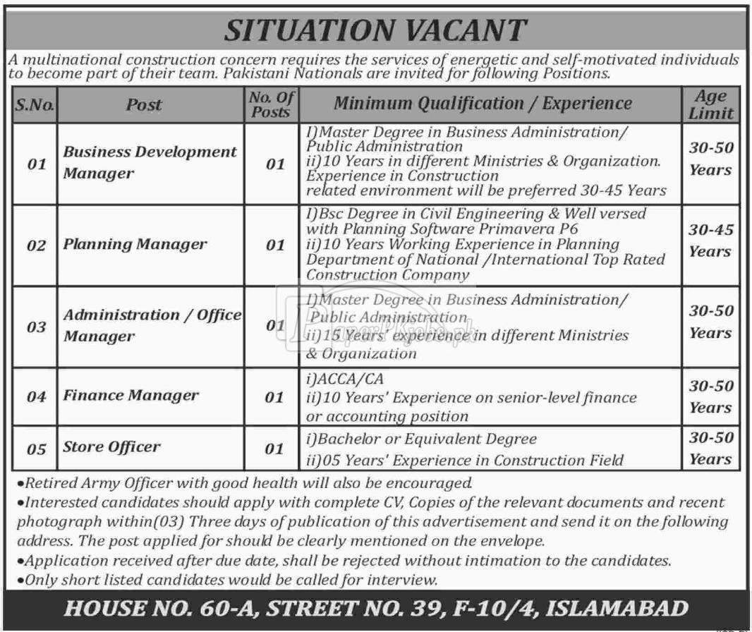 Multinational Construction Company Jobs 2018