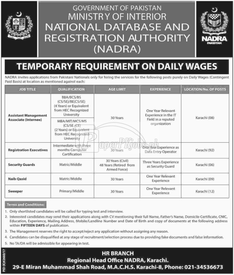 NADRA Karachi Ministry of Interior Jobs 2018