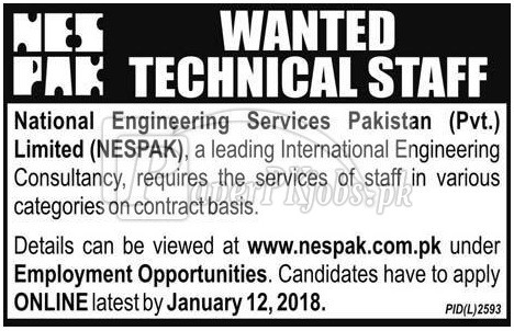 National Engineering Services Pakistan Pvt Ltd NESPAK Jobs 2018National Engineering Services Pakistan Pvt Ltd NESPAK Jobs 2018
