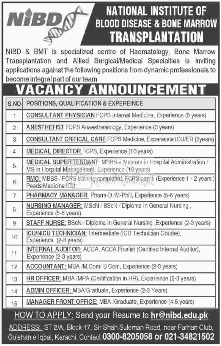 National Institute of Blood Disease & Bone Marrow Transplantation NIBD & BMT Karachi Jobs 2018