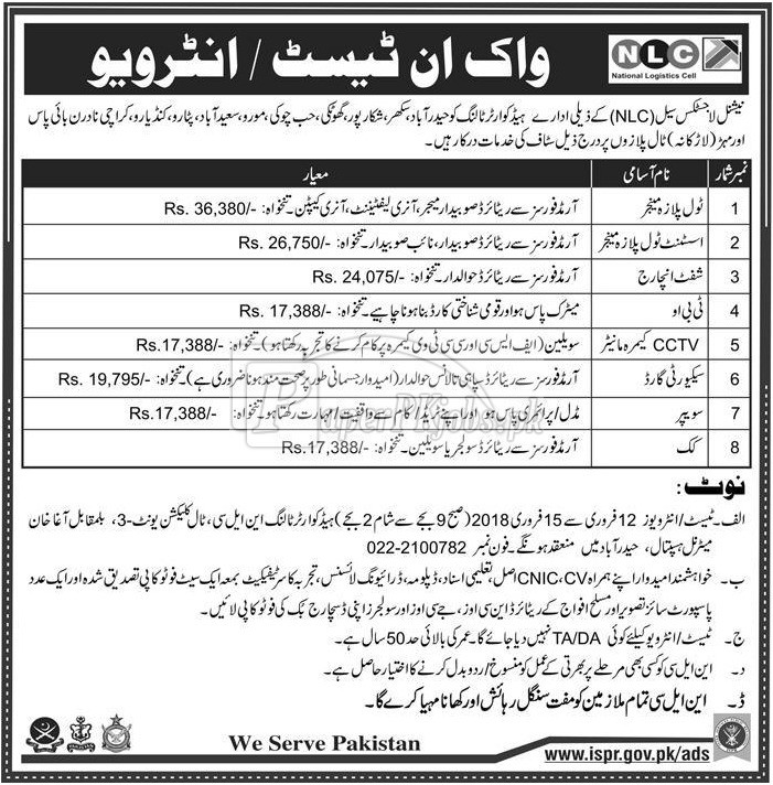 National Logistics Cell NLC Jobs 2018(1)