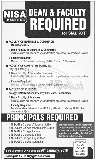 Nisa Girls College Jobs 2018