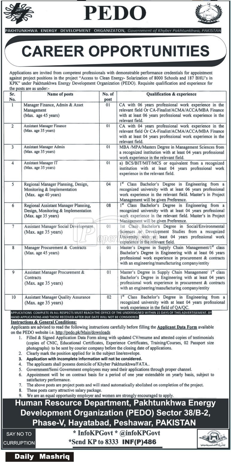 Pakhtunkhwa Energy Development Organization PEDO Peshawar Jobs 2018