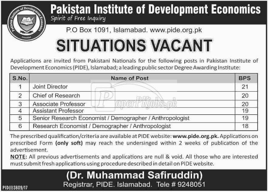 Pakistan Institute of Development Economics PIDE Islamabad Jobs 2018