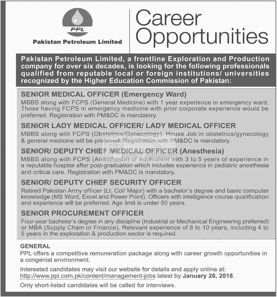 Pakistan Petroleum Limited PPL Jobs 2018