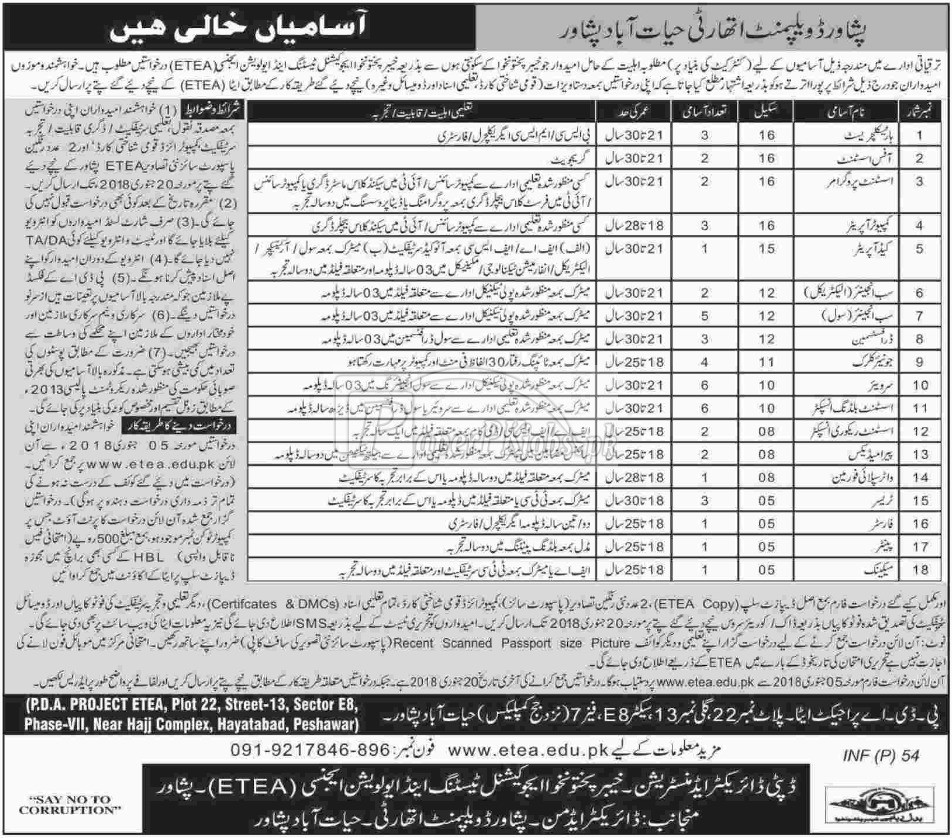 Peshawar Development Authority Hayatabad Peshawar ETEA Jobs 2018
