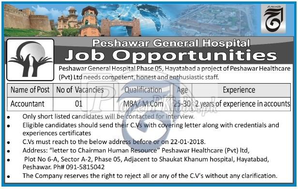 Peshawar General Hospital Jobs 2018