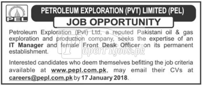 Petroleum Exploration Pvt Limited PEL Jobs 2018