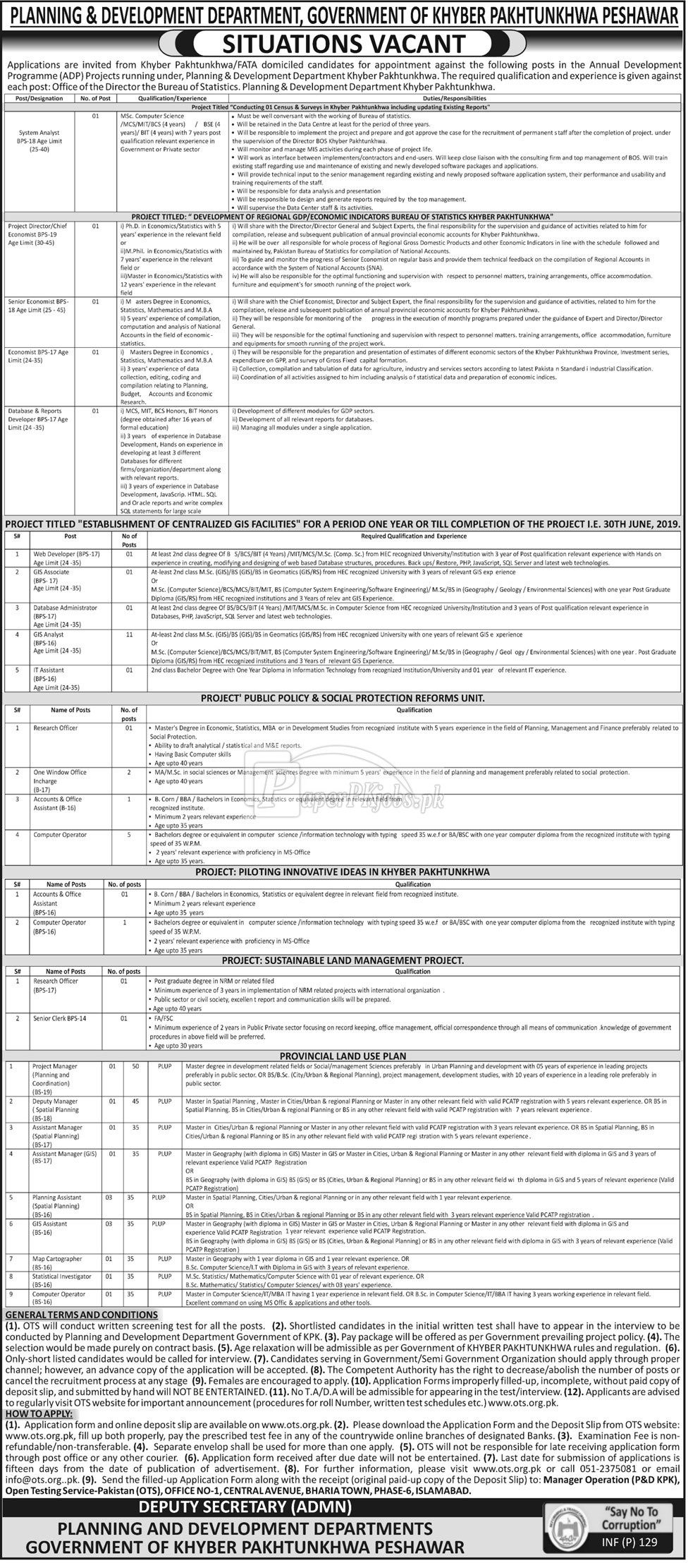 Planning & Development Department Peshawar KPK OTS Jobs 2018