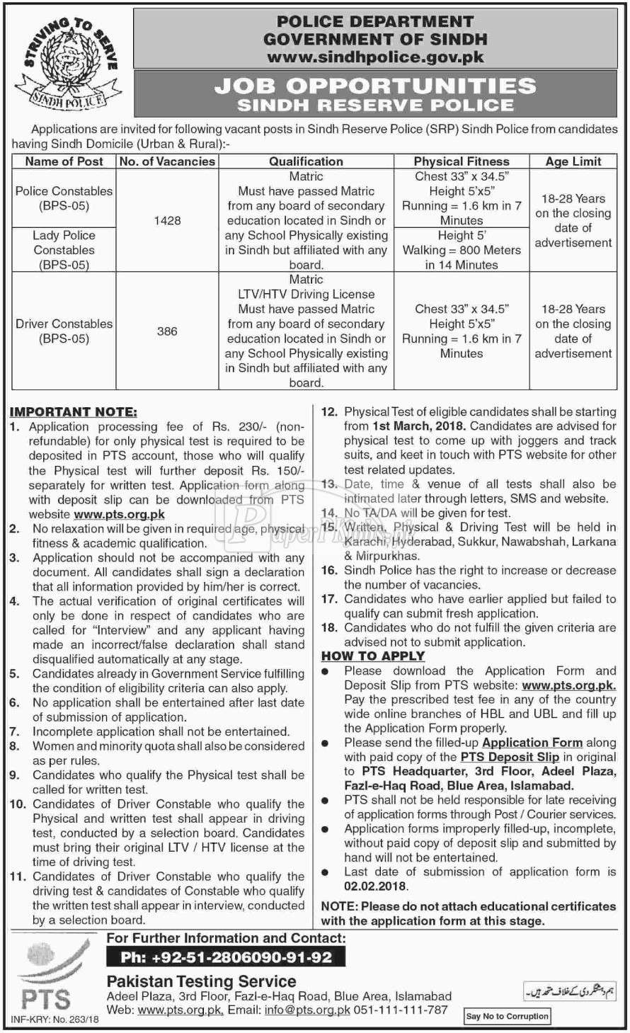 Police Department Government of Sindh PTS Jobs 2018