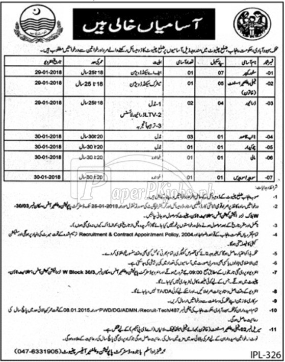 Population Welfare Department Punjab Jobs 2018