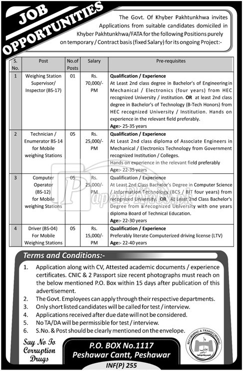 Public Sector Organization P.O.Box 1117 Peshawar Jobs 2018