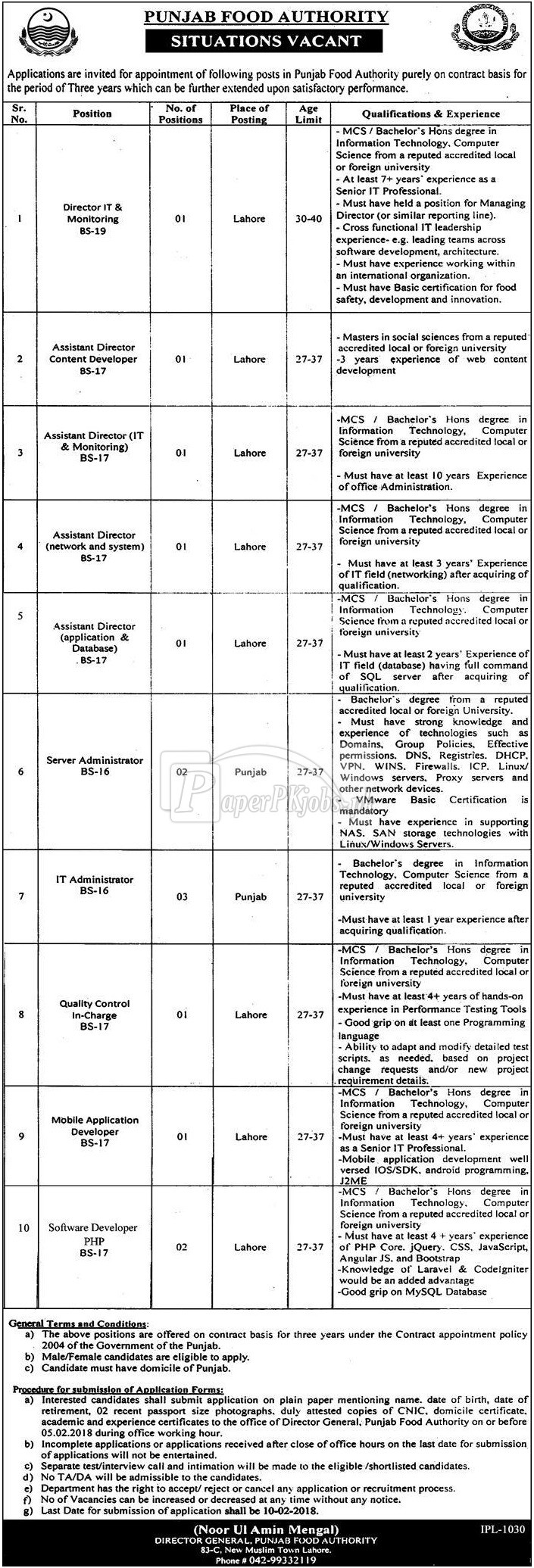 Punjab Food Authority Lahore Jobs 2018