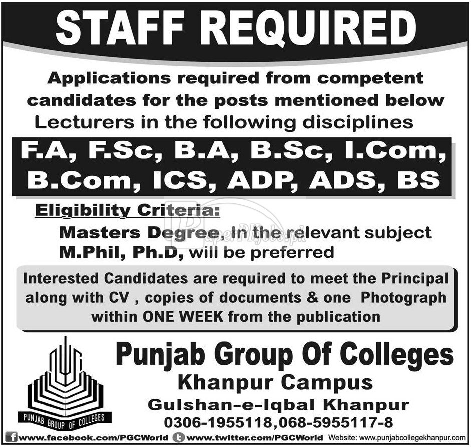Punjab Group of Colleges Jobs 2018