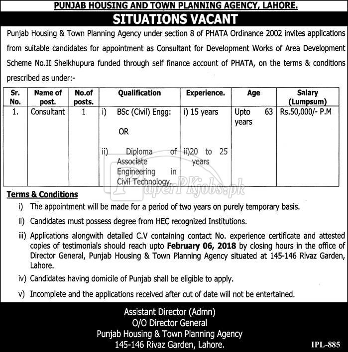 Punjab Housing & Town Planning Agency Lahore Jobs 2018