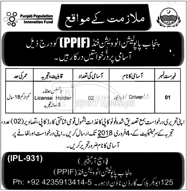 Punjab Population Innovation Fund PPIF Jobs 2018
