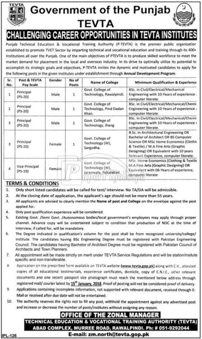 Punjab Technical Education & Vocational Training Authority PTEVTA Jobs 2018