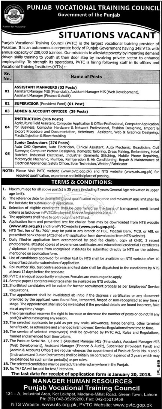 Punjab Vocational Training Council PVTC NTS Jobs 2018