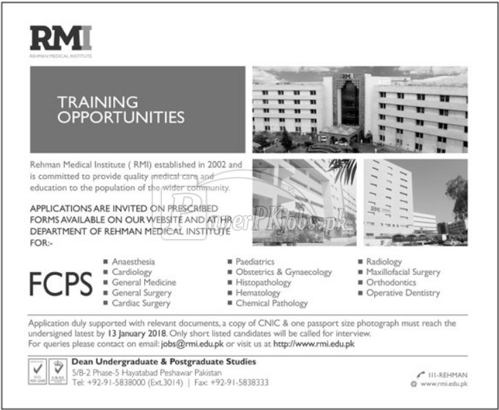Rehman Medical Institute Peshawar FCPS Training Opportunities 2018