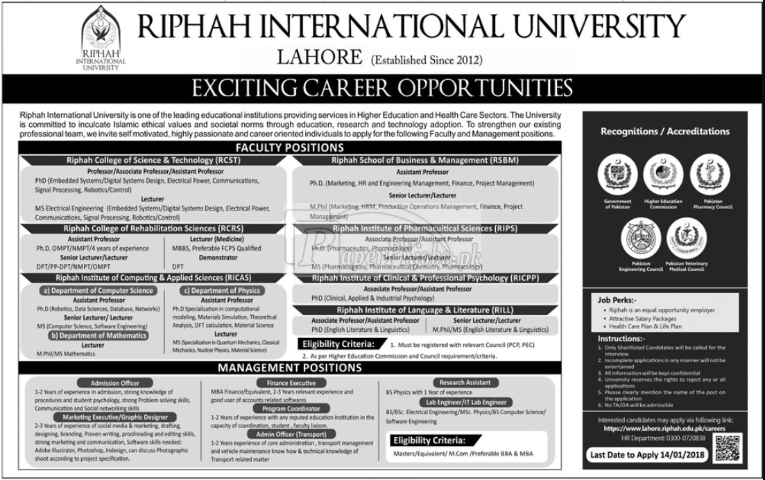 Riphah International University Lahore Jobs 2018