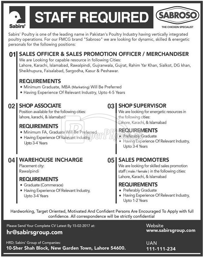 SABROSO Sabris Group of Companies Jobs 2018