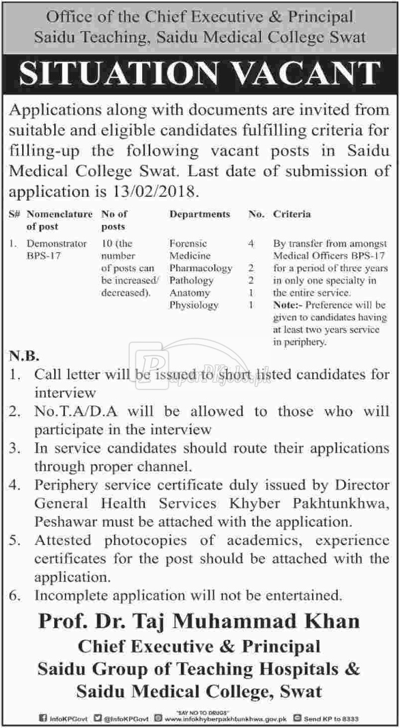 Saidu Group of Teaching Hospitals & Saidu Medical College Swat Jobs 2018