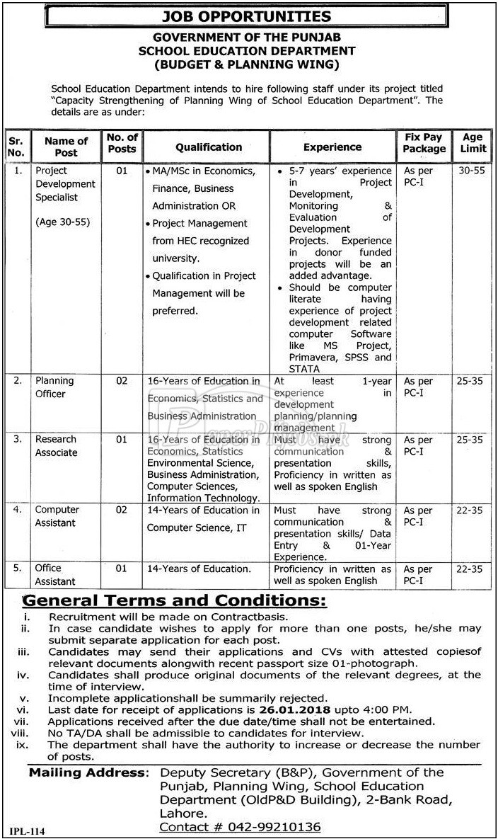 School Education Department Government of Punjab Jobs 2018