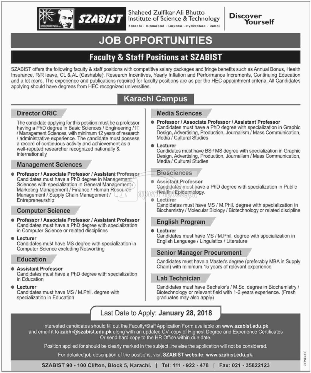 Shaheed Zulfikar Ali Bhutto Institute of Science & Technology SZABIST Jobs 2018